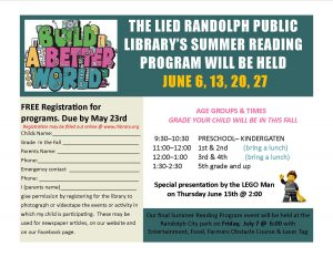 Summer Reading Program @ Lied Randolph Public Library | Randolph | Nebraska | United States