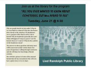 """All You Ever Wanted to Know About Cemeteries"" @ Lied Randolph Public Library 