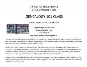 Genealogy 101 Class @ Lied Randolph Public Library