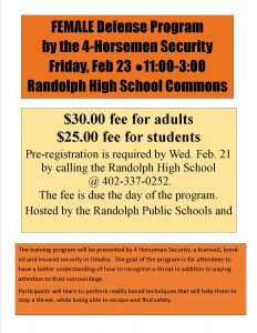 Female Defense Program @ Randolph Public High School commons | Randolph | Nebraska | United States