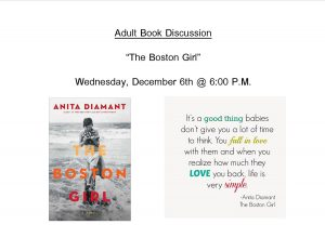 "Adult Book Discussion on ""Boston Girl"""