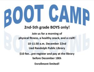 Boys' Boot Camp @ Lied Randolph Public Library