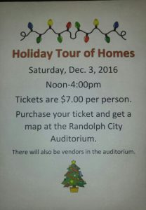 Holiday Tour of Homes @ Randolph City Auditorium
