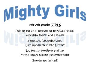 Mighty Girls Grades 4th-7th @ Lied Randolph Public Library