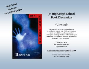 """Unwind"" High School Book Discussion @ Lied Randolph Public Library"