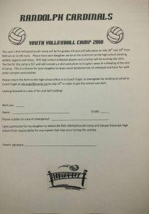 Youth Volleyball Camp 2016 @ Randolph High School