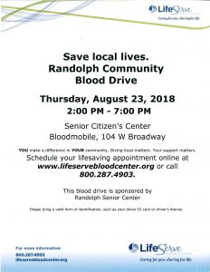 Blood Drive @ Randolph Senior Citizen's Center | Randolph | Nebraska | United States