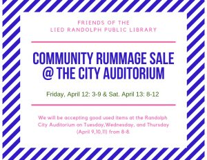 Friends of the Library Rummage Sale @ Randolph City Auditorium