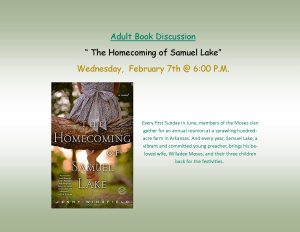 "Adult Book Discussion ""The Homecoming of Samuel Lake"" @ Lied Randolph Public Library"