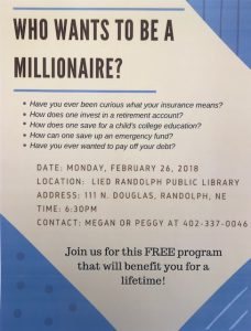 Who Wants to be a Millionaire? @ Lied Randolph Public Library | Randolph | Nebraska | United States