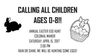 Colonial Manor Easter Egg Hunt @ Colonial Manor
