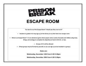 Escape Room for Grades 6-12 @ Lied Randolph Public Library