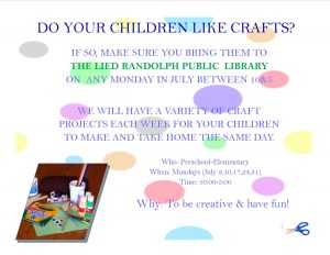 Make & Take Crafts @ Lied Randolph Public Library