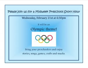 "Midweek Story Hour ""Olympics"" @ Lied Randolph Public Library"