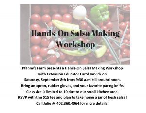 Hands-On Salsa Making @ Pfanny's Farm | Randolph | Nebraska | United States