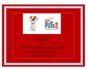 Secret Life of Pets 2 Movie Showing @ Lied Randolph Public Library